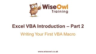 Excel VBA Introduction Part 2 Writing Your First VBA