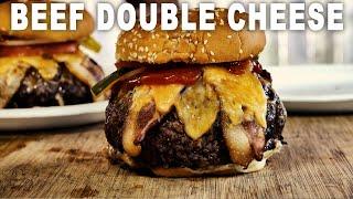 Roast Beef Stuffed Bacon Double Cheese Burger