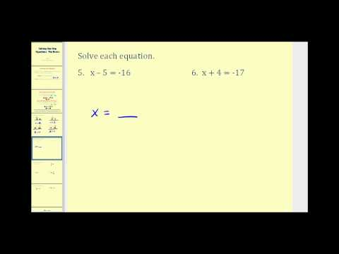 Solving One Step Equations: The Basic