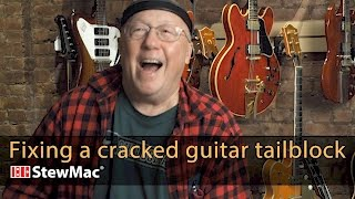 Watch the Trade Secrets Video, Fixing a cracked guitar tailblock with the Scissor Jack