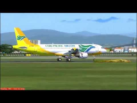 FS2004: Cebu Pacific Landing at Mactan-Cebu International Airport 12/24/2013