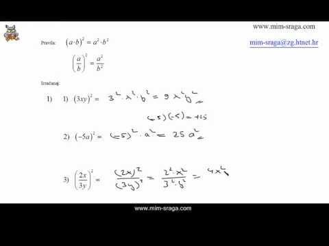 kvadriranje umnoška , kvadriranje količnika - Matematika za osmi razred   vj.102
