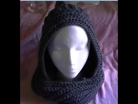 How to crochet a Easy Scoodie Part 2 of 2 Scarf/Hoodie
