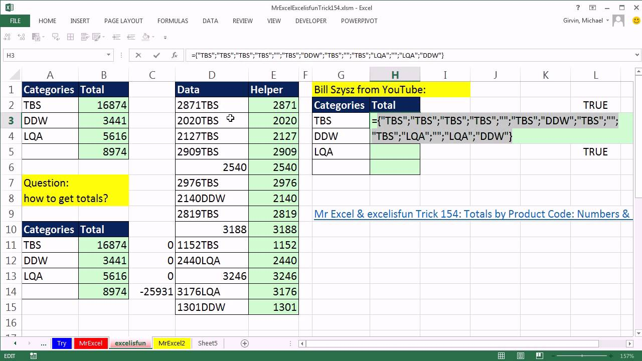 Mr Excel & excelisfun & Bill Szysz Trick 154 Part 2: Totals by Product Codes like: 2871TBS - YouTube