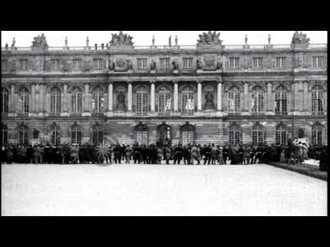 People gather in large numbers outside the Palace of Versailles in Versailles,Fra...HD Stock Footage