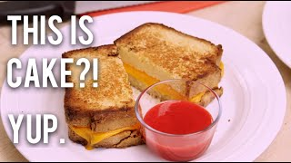 How To Make A GRILLED CHEESE SANDWICH...CAKE! Pound cake 'bread' and modeling chocolate 'cheese'!