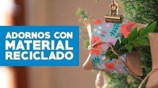 Adornos navideños con material reciclado