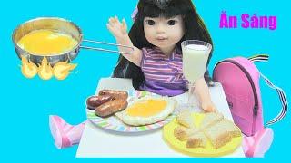 Nấu Đồ Ăn Sáng Cho Búp Bê Bằng Bộ Đồ Chơi Nấu Ăn Mini / Bé Nguyên Thơ Ăn Sáng Đi Học chị bí đỏ