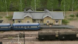 Modelleisenbahn Lahti mit Hafen von Vesijärvi und Punkaharju Gebiet in Spur N