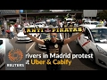 Madrid cab drivers protest against ride-hailing apps