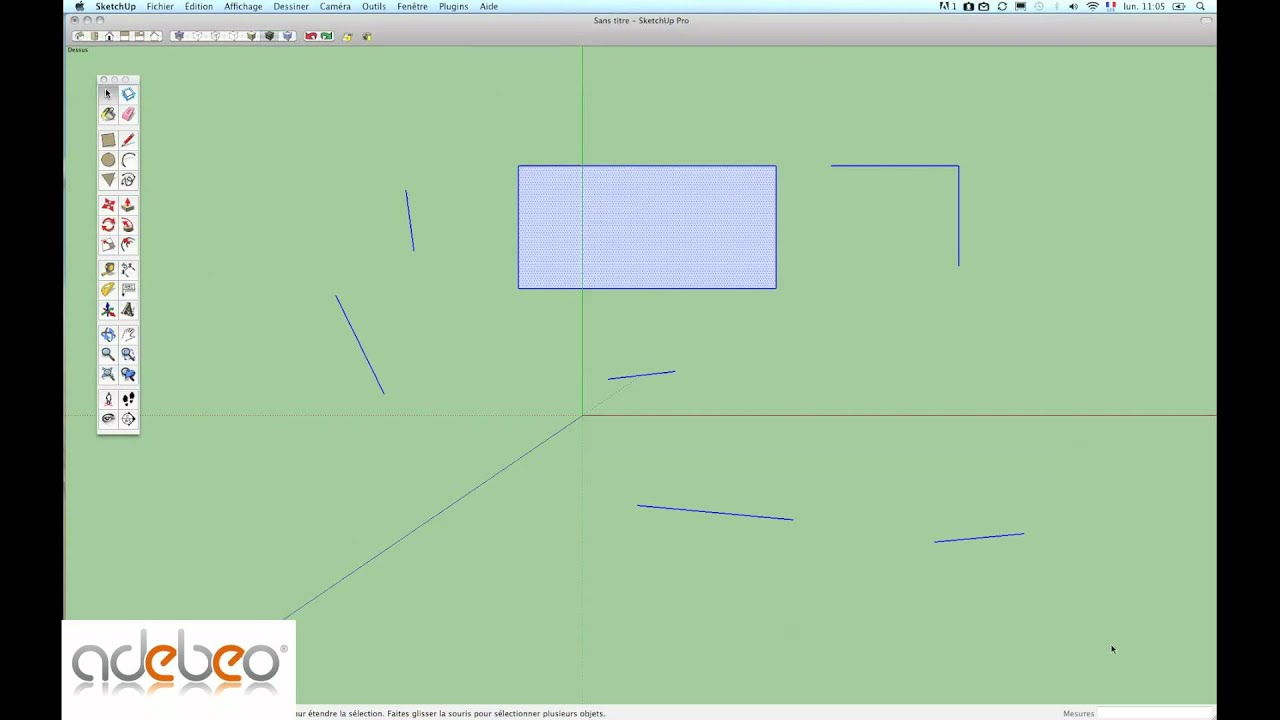 Tutoriel sketchup 2 les bases de l 39 outil ligne et la for Outil miroir sketchup