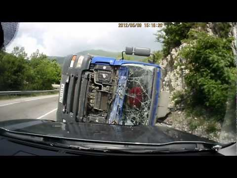 Truck Flips Over During Turn