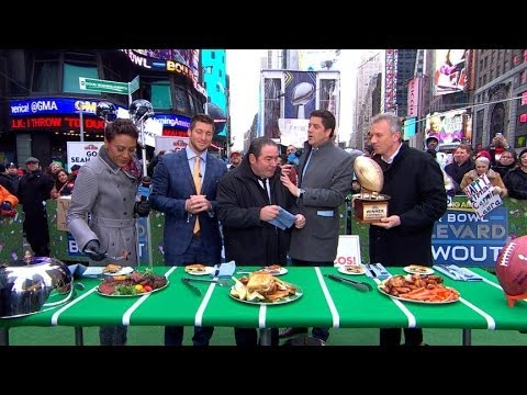 Tim Tebow Faces Off Against Joe Montana in Football Food Fight