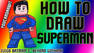 How To Draw Superman From Lego Batman 3: Beyond Gotham
