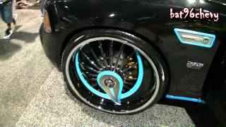 "Black/ REFLECTIVE Teal Dodge Charger On 26"" DUB Skirts"