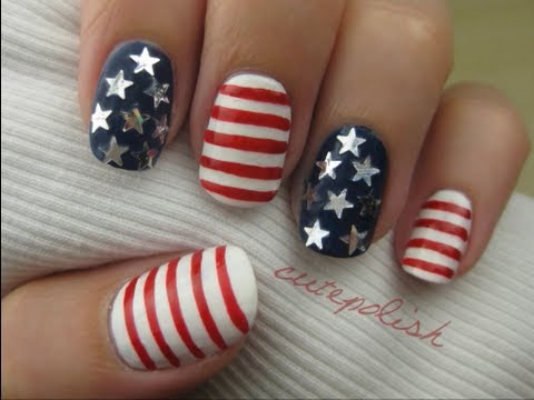 4th of July Nails, PRODUCTS USED: Wet N Wild - Stars and Stripes (this is the star-shaped glitter polish! it's new and should be available at your local drugstore, walmart, etc...