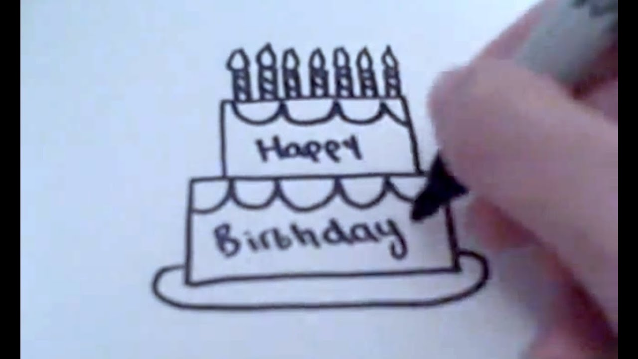 Pictures Of Birthday Cakes Drawings : How to Draw a Cartoon Birthday Cake - YouTube