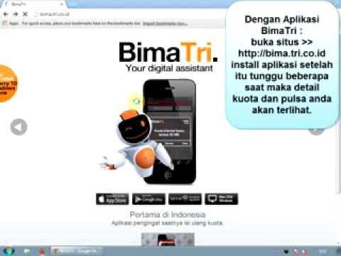 Cara cek kuota 3, internet.tri.co.id, Aplikasi BimaTri, SMS, Cek Pulsa ...