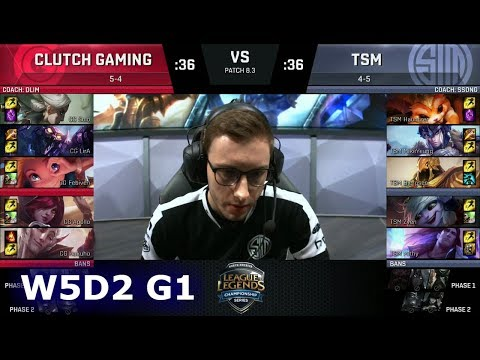 Clutch Gaming vs TSM | Week 5 Day 2 of S8 NA LCS Spring 2018 | CG vs TSM W5D2 G1