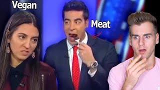 MAN EATS STEAK IN FRONT OF VEGAN ON LIVE TV (Crazy Reaction)