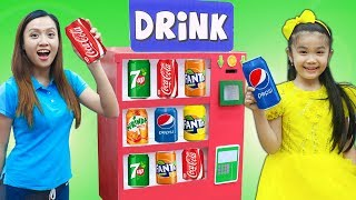 Hana Pretend Play w/ Cardboard Soda Dispenser Vending Machine Kids Toys