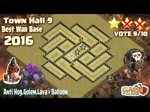 Clash Of Clans - Town Hall 9 (Th9) Best War Base Anti 2 Star 2016 + Build & Replay