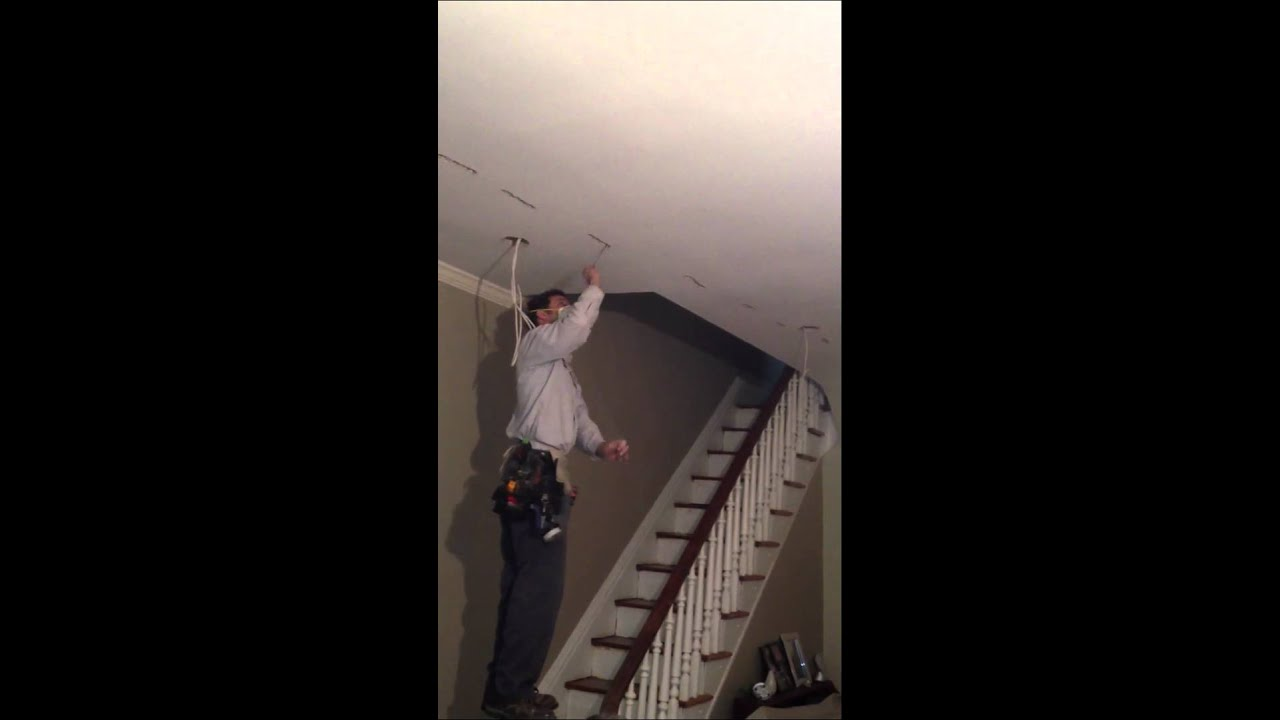 Fishing a wire across a ceiling youtube for How to fish wire through ceiling