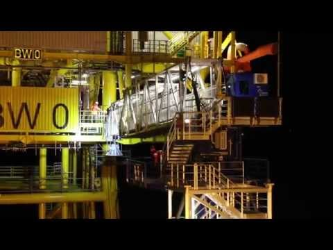 Gangway access to Borkum West offshore transformer