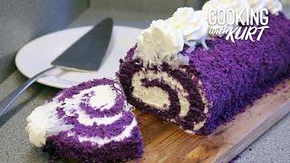 Red Ribbon Ube 'n Cream Macapuno Roll - Filipino Purple Yam   Cooking with Kurt (Steven Universe!)