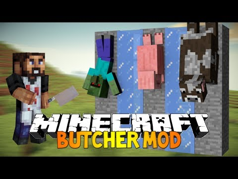 Minecraft: THE BUTCHER MOD! - Hang them, grill them and eat them! (Meat Hooks mod)