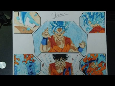 how to draw goku super saiyan god