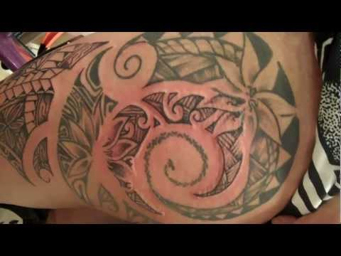 hip and thigh freehand tribal tattoo poly polynesian inspired