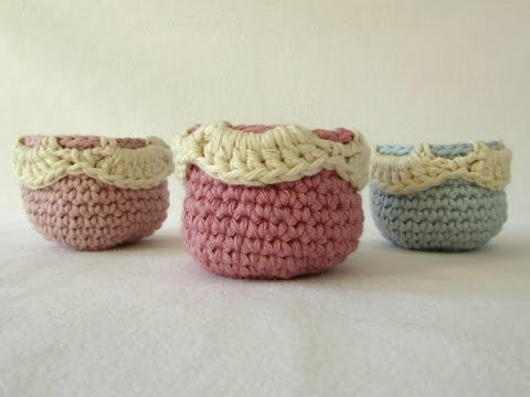 How to crochet mini shell edge storage pots / baskets
