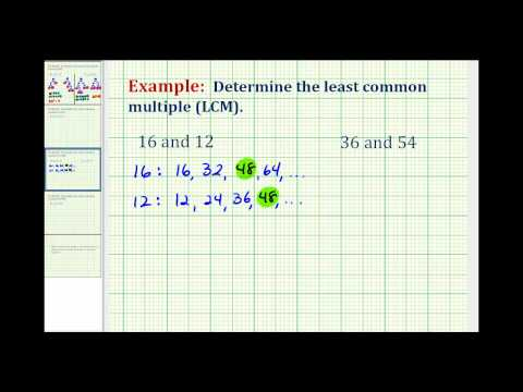 Example of Determining Least Common Multiple Using a List of Multiples