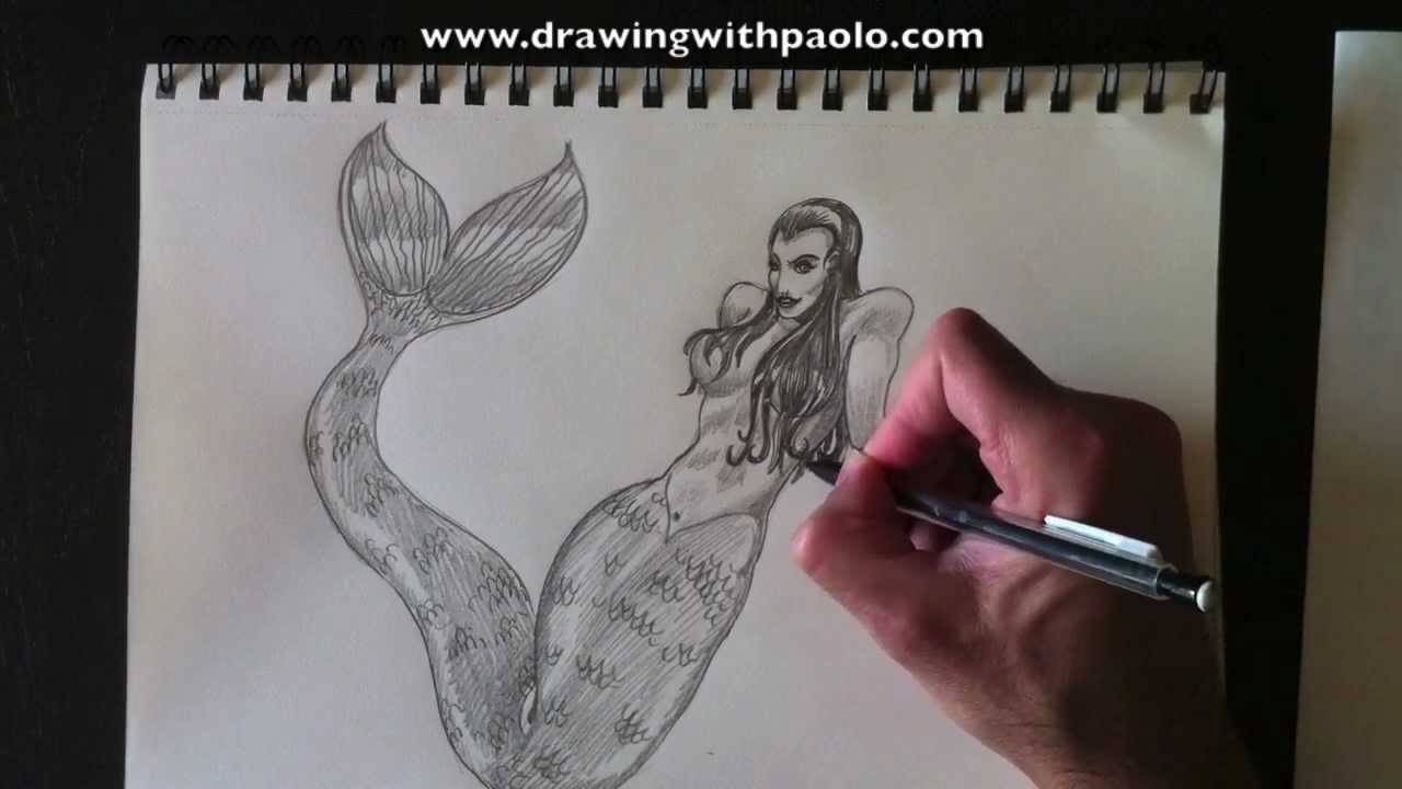 Dessiner une sir ne drawing a mermaid paolomorrone youtube - Dessin de sirene facile ...
