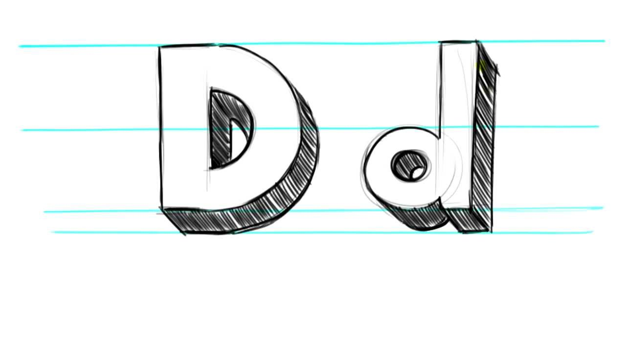 how to draw a lowercase d in bubble letters