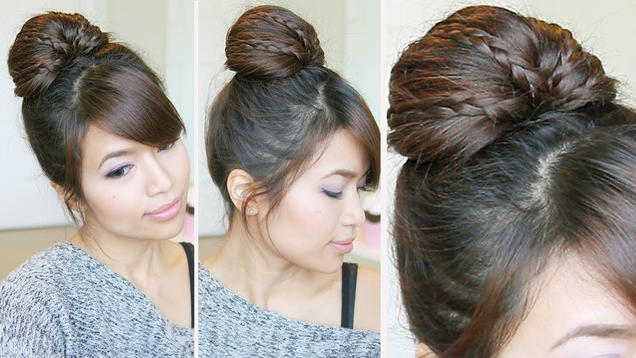 Simple Hairstyles For Long Hair Youtube : ... Bun Updo Hairstyle for Medium Long Hair Tutorial - Bebexo - YouTube