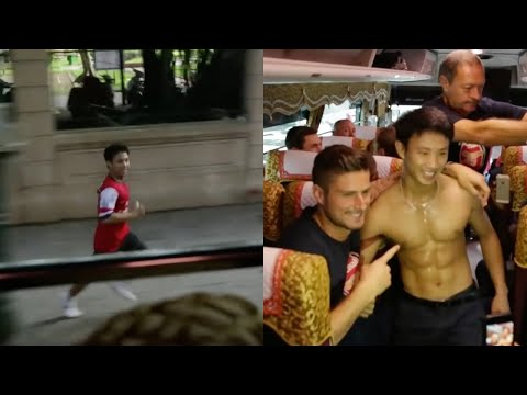 Arsenal fan runs after the Arsenal team's bus for five miles (then gets a lift) - The Running Man -