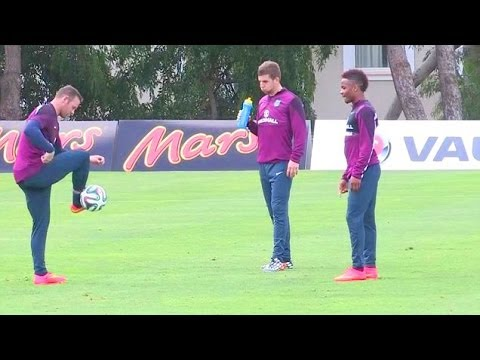 Wayne Rooney & Raheem Sterling In Freestyle Challenge During England Training