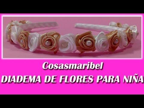 Diadema de flores para ni a comuniones bodas y eventos - Diademas de flores para nina ...