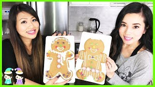 Giant Gingerbread Men! Decorating Christmas Cookies with Princess ToysReview