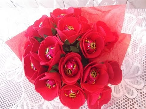 como fazer buque de rosas em eva porta bombom