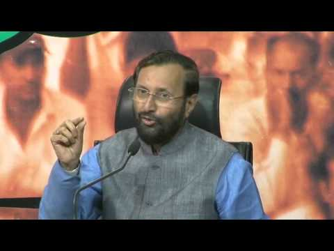 BJP Press by Shri Prakash Javadekar on hate campaign by Congress.