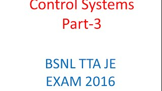 BSNL TTA EXAM Lecture Control System Transient Analysis Routh Hurwitz