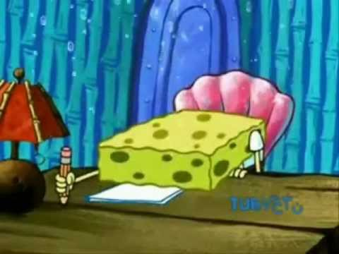 Spongebob writing an essay