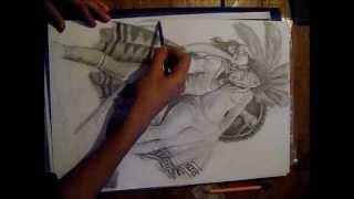 Dibujo A Lapiz De Azteca (la Leyenda De Los Volcanes