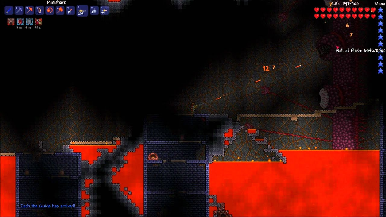 terraria mobile how to kill wall of flesh