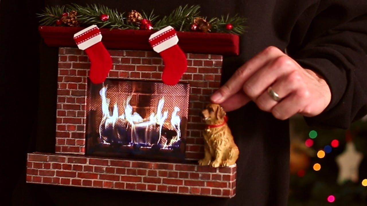 Burning Fireplace Ugly Christmas Sweater W An Ipad