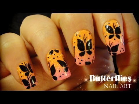 Butterflies nail art