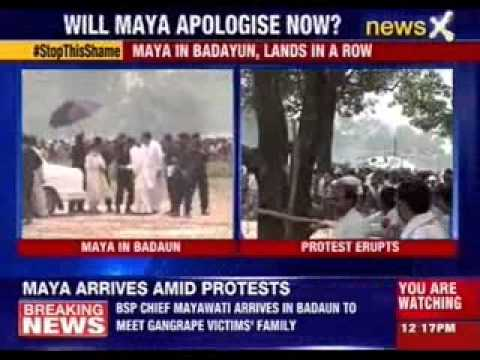Mayawati in Badayun, lands in a row